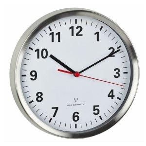 TFA 60.3529 zegar ścienny wskazówkowy sterowany radiowo płynąca wskazówka aluminium szkło średnica 22 cm