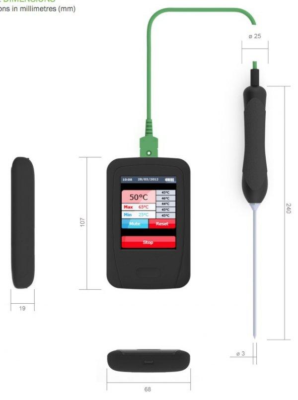 Rejestrator temperatury EnviroPad-TC z ekranem dotykowym i czujnikiem termoparowym