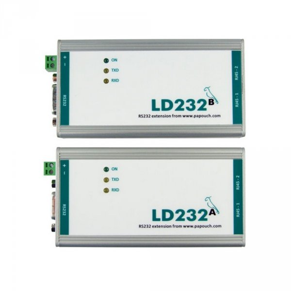 Wzmacniacz sygnału RS232 do 1200 m Papouch LD232 regenerator sygnału, izolator galwaniczny
