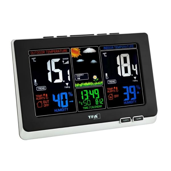 Stacja pogody bezprzewodowa TFA 35.1129 SPRING z czujnikiem zewnętrznym kolorowy wyświetlacz