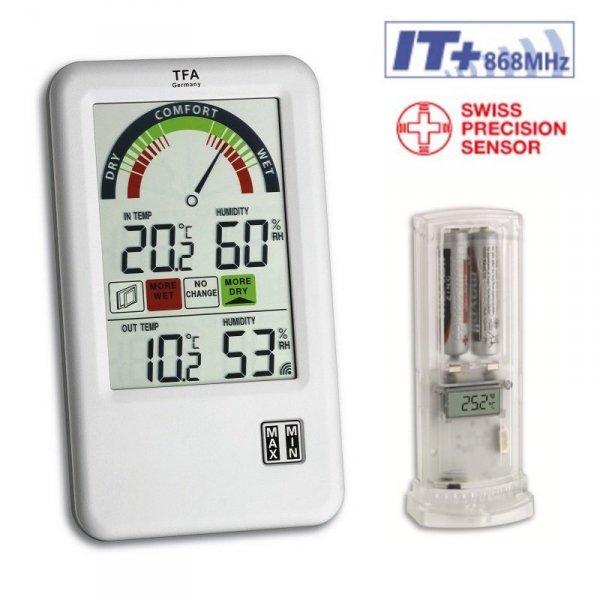 Termohigrometr bezprzewodowy TFA 30.3045 BEL-AIR z czujnikiem zewnętrznym kontroler klimatu pomieszczeń
