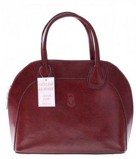 Torebka skórzana Włoski kuferek Genuine Leather Brąz