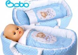 Nosidełko BOBO z aplikacją dla lalki do 45 cm błękitne w kropki