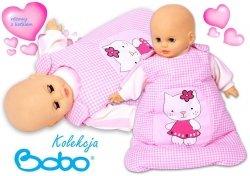 Śpiworek dla lalki  różowa kratka z kotkiem