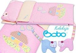 Śpiworek do łóżeczka różowy z aplikacja domku