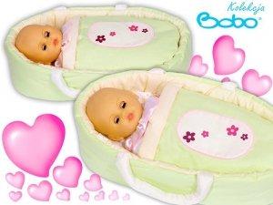 Nosidełko BOBO z aplikacją dla lalki do 45 cm zielone