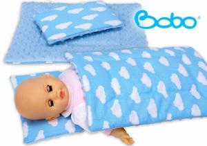Pościel dla lalki błękitna z chmurkami