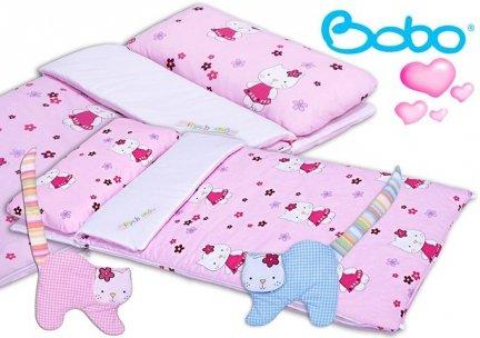 Śpiwór 155x70 zima/lato różowy w kotki