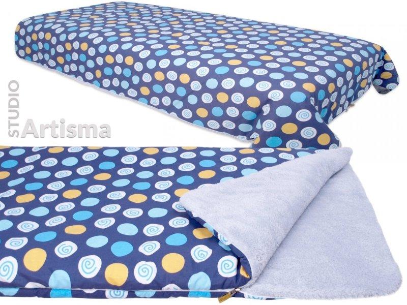Narzuta na łóżko KOC dwustronny PLED Granatowy w koła z szarym