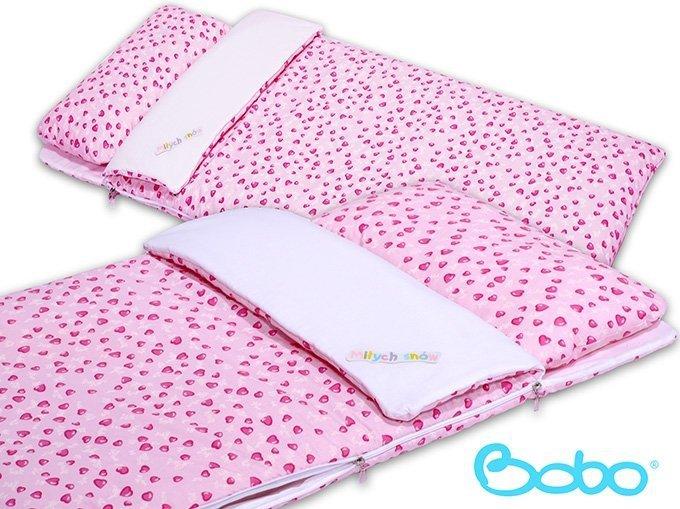 Śpiwór 155x70 cm zima/lato różowe serduszka