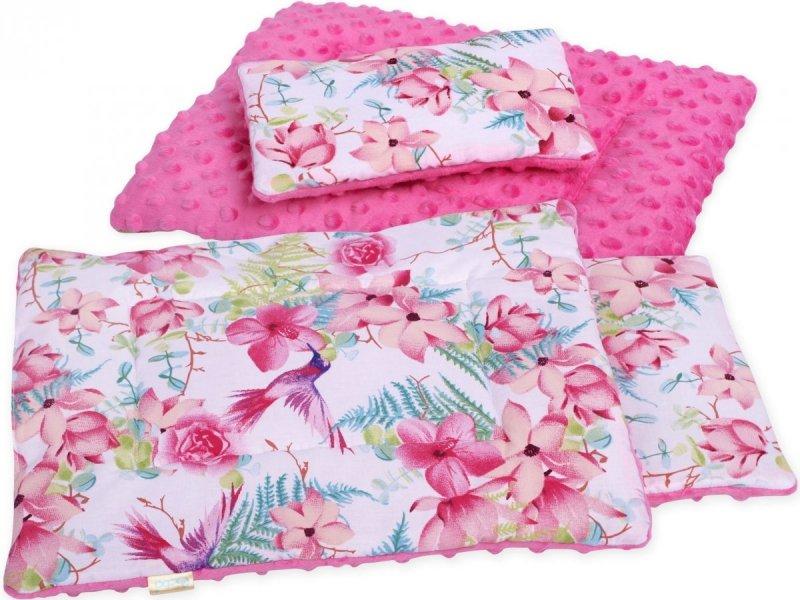 Pościel dla lalki minky różowe kwiaty