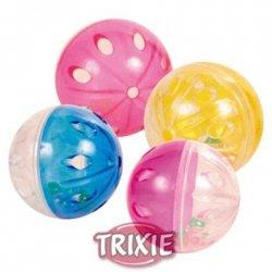 Trixie Piłki plastikowe przezroczyste z grzechotką 5cm 4szt. [TX-4166]
