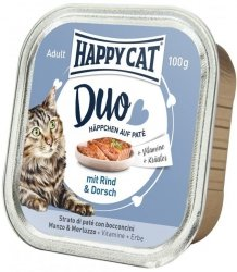 Happy Cat Duo pasztet z wołowiną i dorszem 100g