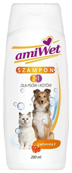 Amiwet Szampon 2w1 dla psów i kotów z witaminą E 200ml