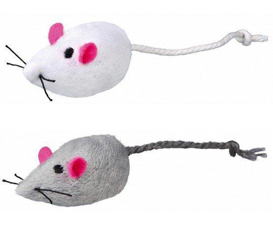 Trixie Myszki szara i biała z kocimiętką grzechoczące 5cm opakowanie 2szt. [TX-4069]