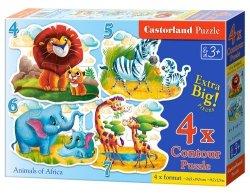 4x1 Puzzle konturowe 4-5-6-7 Animals of Africa
