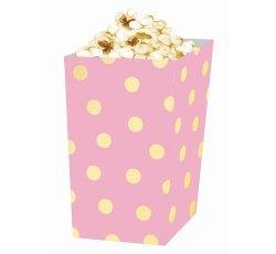 Pudełko na popcorn Złote groszki,  9cm x 9cm x 15cm, różowe, 4 sztuki