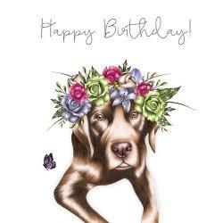 Karnet Swarovski kwadrat Pies z kwiatami
