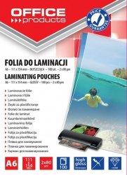 Folia do laminowania OFFICE PRODUCTS A6 2x80mikr., błyszcząca, 100 sztuk, transparentna