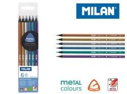 Kredki Milan trójkątne metalizowane 6 kolorów