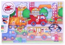 Top Bright - Puzzle drewniane z pinezkami - miasto, autobus