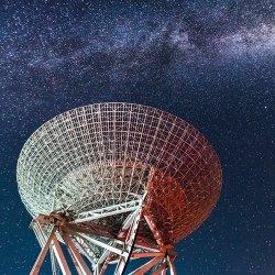 Karnet kwadrat z kopertą Radio Telescope under Milky Way