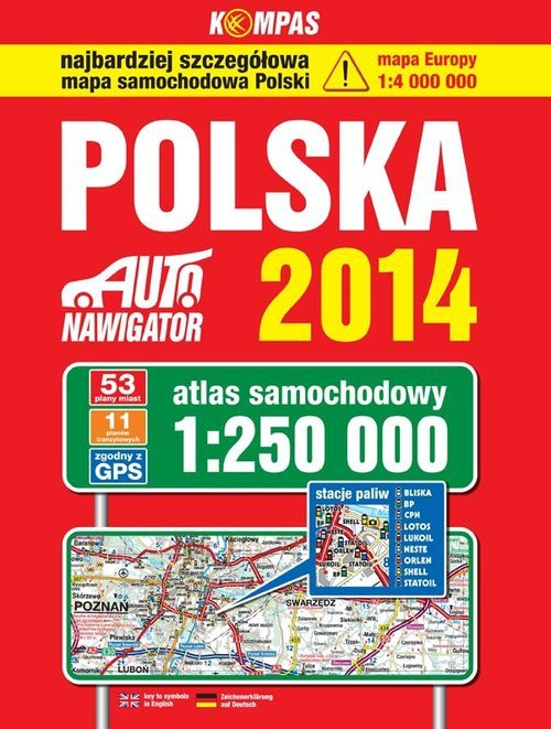 Polska 2014 Atlas samochodowy 1:250 000