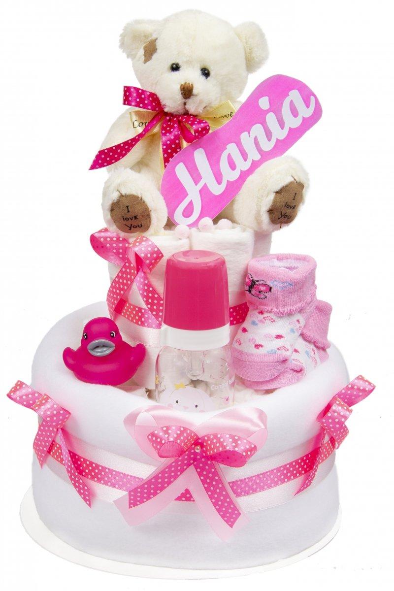 Tort z pieluch pampers Miś różowy