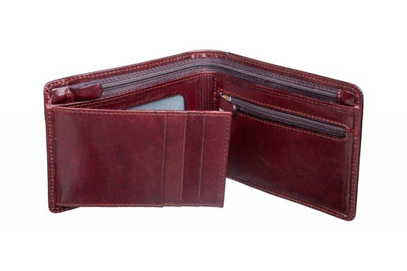 portfel posiada jedną część ruchomą otwieraną na bok z miejscem na dokumenty i karty. Portfel posiada 6 miejsc na karty i jedno miejsce z szybką plastikową na dokumenty