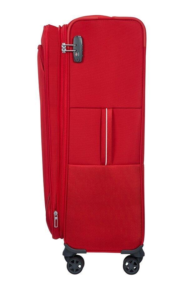 Bagaż posiada górny i boczny uchwyt oraz możliwość zwiększenia objętości poprzez otwarcie dodatkowego suwaka