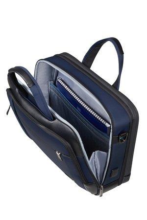 Torba posiada dwie główne komory. Przednia z miejscem na dokumenty, tylna z miejscem na laptopa i tablet