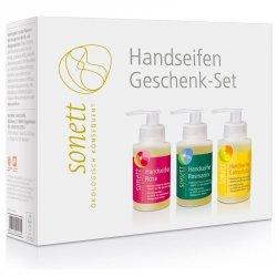 D123 Zestaw upominkowy - 3 Ekologiczne mydła w płynie: RÓŻA, ROZMARYN, NAGIETEK 3 x 110 ml