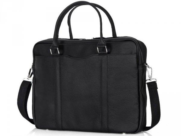 Skórzana torba na laptop Solome Ring 02 czarna skos