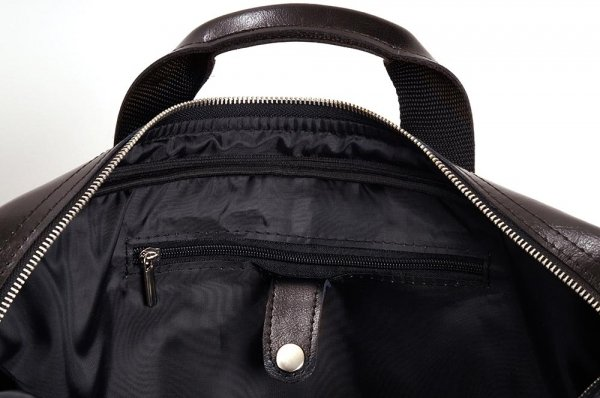 Skórzana torba na laptop Solome premier brązowa detal 1
