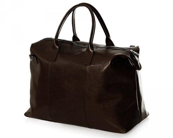Skórzana torba podróżna weekendowa solome premier brązowa skos 1