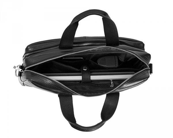 Skórzana torba na laptop Solome premier czarna wnętrze