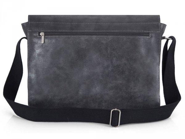 Skórzana torba męska na ramię Solome Blackrok jasno szara vintage tył