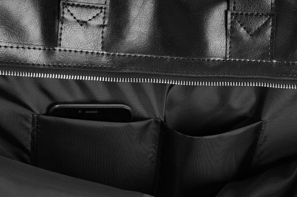 Skórzana torba na laptop Solome premier czarna detal 1