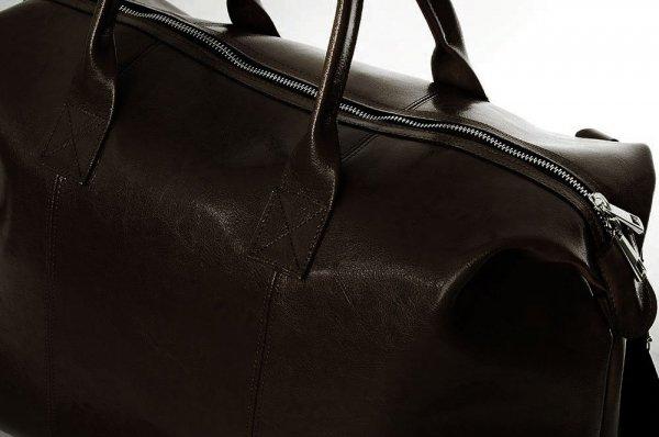 Skórzana torba podróżna weekendowa solome premier brązowa detal 1