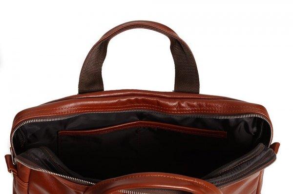 Skórzana torba na laptopa Solome premier karmel detal 2