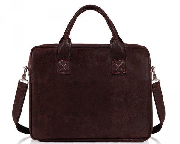 Skórzana torba na laptopa Solome horse ciemno brązowa przód