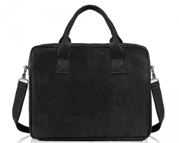 Skórzana torba na laptopa Solome horse ciemno szara przód