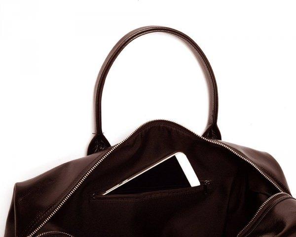 Skórzana torba podróżna weekendowa solome premier brązowa detal 5