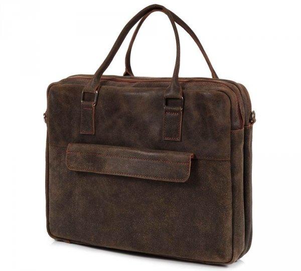 Skórzana torba męska na laptop Solome Alston vintage brązowa skos