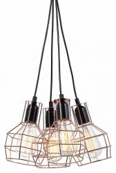 MIEDZIANA LAMPA WISZĄCA W STYLU VINTAGE ITALUX PERIFO MDM-2272/4 BK+COP
