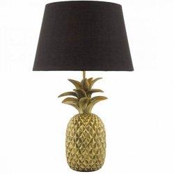 STOŁOWA DEKORACYJNA LAMPA NOCNA ANANAS ZŁOTA Z CZARNYM ABAŻUREM DAR LIGHTIG SAF4235