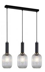 NOWOCZESNA SZKLANA LAMPA WISZĄCA ITALUX ANTIOLA PND-5588-3M-BK+CL DESIGNERSKA LOFT