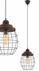 EGLO BAMPTON 49499 LAMPA WISZĄCA DREWNIANA VINTAGE DRUCIANA