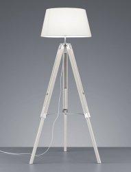 DREWNIANA LAMPA PODŁOGOWA NA STATYWIE Z ABAŻUREM BIAŁA LAMPA NA TRÓJNOGU
