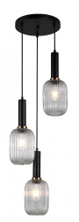 NOWOCZESNA SZKLANA LAMPA WISZĄCA ITALUX ANTIOLA PND-5588-3AM-BK+CL DESIGNERSKA LOFT